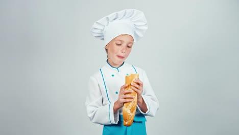 Feliz-Panadero-Niña-7-8-Años-Niño-Comiendo-Pan-Baguette-Aislado-En-Blanco