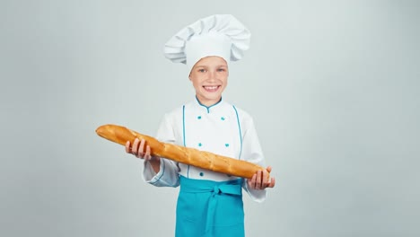 Happy-Baker-Girl-7-8-Years-Child-Sniffing-Bread-Baguette-Isolated-On-White