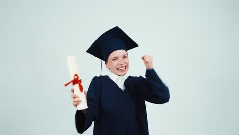 Happy-Graduate-Child-Has-Diploma-On-White