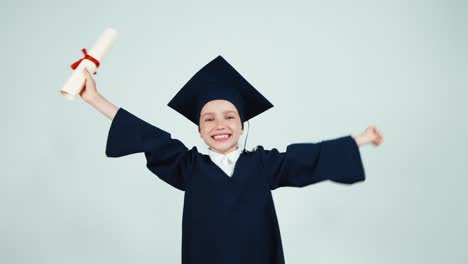 Happy-Student-Graduate-Girl-7-8-Years-Child-Has-Diploma-And-Dancing-With