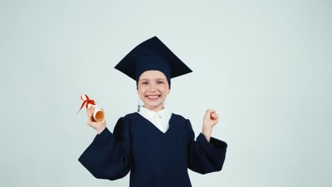 Happy-Student-Graduate-Girl-7-8-Years-Child-Has-Diploma-On-White