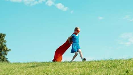 Happy-Super-Hero-Girl-Child-7-8-Years-Old-Running-Against-The-Blue-Sky