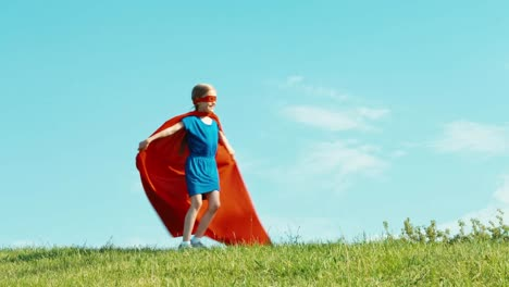 Happy-Superhero-Girl-7-8-Years-Old-Running-Against-The-Blue-Sky