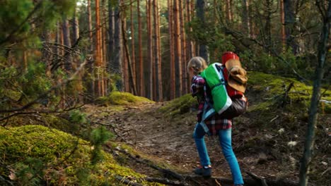Hiker-Child-Girl-8-9-Years-Goes-In-Forest