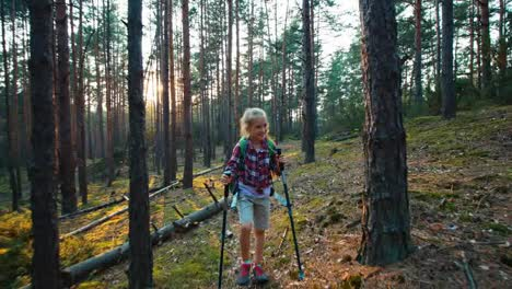 Hiker-Girl-8-9-Years-Child-Goes-At-Camera-In-The-Forest