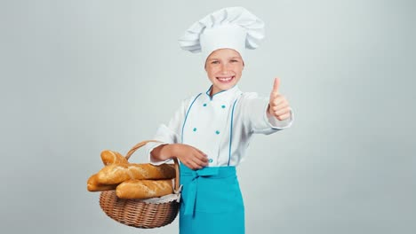 Portrait-Baker-Girl-7-8-Years-Holds-Basket-With-Long-Loaves-And-Smiling