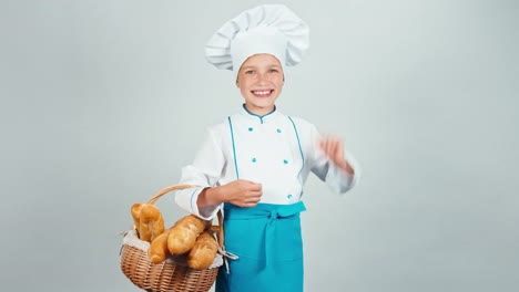 Portrait-Baker-Girl-Child-Holds-Basket-With-Bread-Baguette-Isolated-On-White