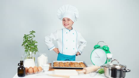 Portrait-Chef-Cook-Girl-Child-7-8-Years-Old-Has-Baking-Tray-With-Biscuit
