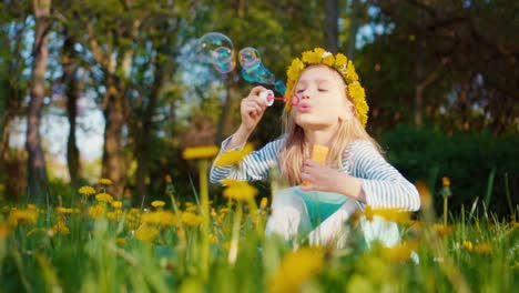 Portrait-Cute-Girl-7-8-Years-Old-Blowing-Soap-Bubbles-In-The-Park