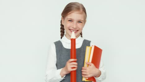 Portrait-Cute-Happy-Schoolgirl-Child-7-8-Years-On-White-Background-Turns-Around