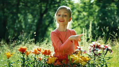 Portrait-Girl-7-8-Years-With-Flowers-In-The-Garden
