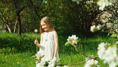 Portrait-Girl-Child-7-8-Years-Blowing-Dandelion-Child-In-White-Dress-In-Park