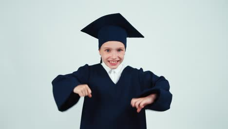 Portrait-Graduate-Girl-7-8-Years-In-Mantle-Has-Idea-Isolated-On-White