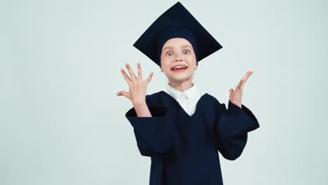 Portrait-Graduate-Girl-7-8-Years-In-Mantle-Has-Idea-On-White