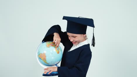 Portrait-Graduate-Girl-7-8-Years-In-The-Mantle-Holding-Globe-On-White-02