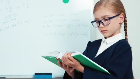 Portrait-Little-Student-Girl-In-Glasses-Holding-Book-Standing-Near-Whiteboard