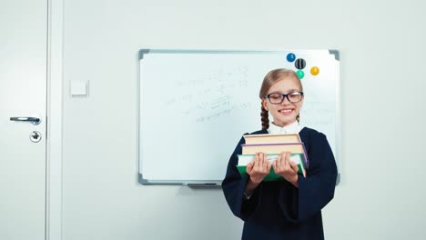 Portrait-Little-Student-Holding-Her-Books-Child-Girl-In-Glasses-And-Mantle