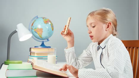 Portrait-Profile-Blonde-School-Girl-7-8-Years-Reading-Book-Eating-Wafer