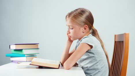 Portrait-Profile-Girl-Child-7-8-Years-Old-Reading-Textbook-Isolated
