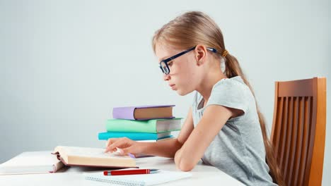 Portrait-Profile-Student-Girl-Child-7-8-Years-Something-Writing-In-Her-Notebook