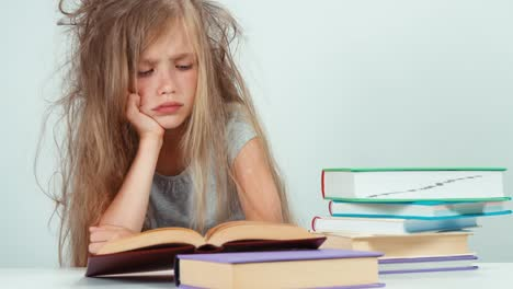 Portrait-Sad-Schoolgirl-Does-Not-Want-To-Study-And-Read-A-Book-Child-Isolated