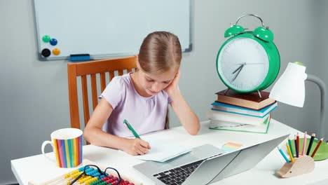 Portrait-Schoolgirl-7-8-Years-Old-Something-Writing-In-Notebook