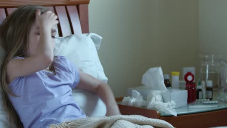 Portrait-Sick-Girl-7-Years-Old-Lying-On-A-Bed-And-Measures-The-Temperature-05