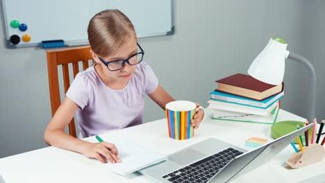 Portrait-Student-Girl-7-8-Years-Doing-Homework-In-Her-Desk-In-Bedroom