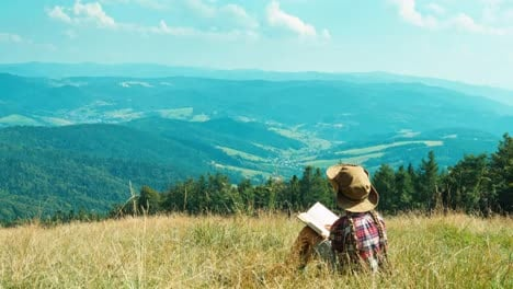 Portrait-Tourist-Girl-Child-7-8-Years-Against-The-Mountains-Reading-Book