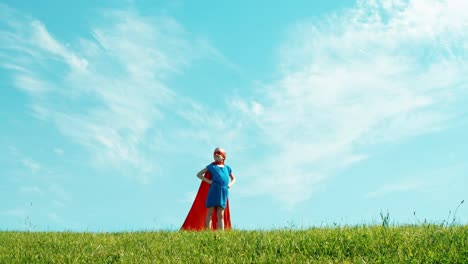 Powerful-Super-Hero-Girl-Child-Protects-The-World-Against-The-Blue-Sky