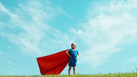 Powerful-Superhero-Girl-Child-Protects-The-World-Against-The-Blue-Sky