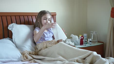 Sick-Girl-7-Years-Old-Baby-Sneeze-And-Cough-Into-A-Handkerchief-Girl-Takes