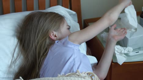 Sick-Girl-7-Years-Old-Sneeze-And-Cough-Into-A-Handkerchief-And-Lying-On-The-Bed