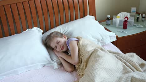 Sick-Girl-7-Years-Old-Sneezing-And-Coughs-And-Lying-On-The-Bed-Panning