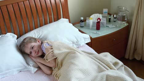 Sick-Girl-7-Years-Old-Sneezing-And-Coughs-And-Lying-On-The-Bed