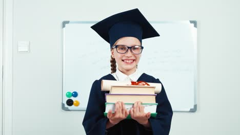Student-7-8-Years-Graduate-In-The-Mantle-Holding-Books-And-Diploma-Turns-At