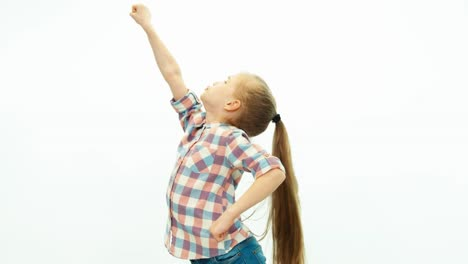 Super-Girl-Super-Man-Laughing-Girl-Dabbles-And-Smiling-On-The-White-Background