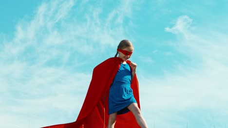 Superhero-Girl-Child-7-8-Years-Old-Protects-The-World-Against-The-Blue-Sky