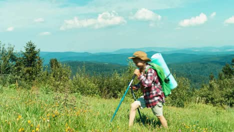 Tourist-7-8-Years-Going-Up-The-Hill-In-The-Mountains