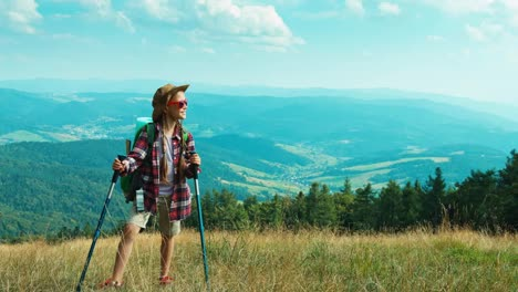 Tourist-Girl-Child-With-Backpacks-7-8-Years-Hiking-In-The-Nature