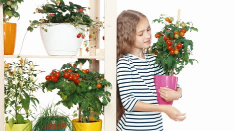Cheerful-Blonde-Girl-Holds-Cherry-Tomatoes-And-Standing-On-White-Background