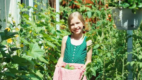 Cheerful-Girl-Child-8-Aged-In-Green-Dress-Holds-Vegetables-Cucumbers-In-Apron