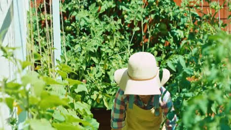 Cheerful-Tired-Farmer-Working-In-Her-Kitchen-Garden-And-Smiling-At-Camera
