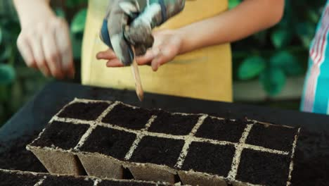 Child-8-Aged-Planting-White-Seeds-In-Soil-Into-A-Peat-Pot-Little-Farmer-Smiling