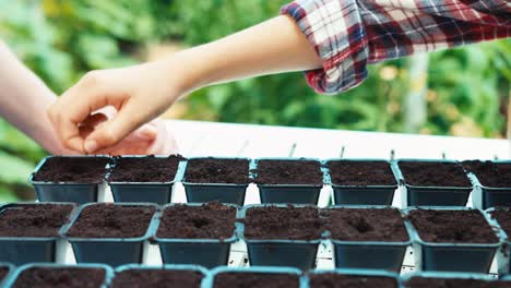 Child-Girl-8-Age-Planting-Seeds-Of-Vegetables-To-Plastic-Pots-With-Soil