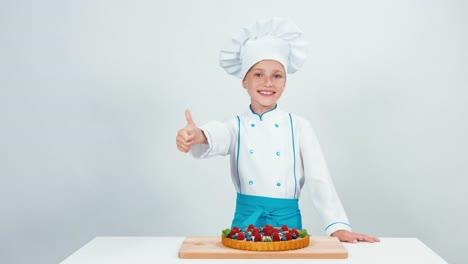 Young-Chef-Baker-Baked-Chocolate-Cake-With-Sweets-And-Fruits