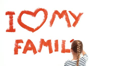 Child-Girl-9-Years-Old-Writing-On-The-Wall-I-Love-My-Family