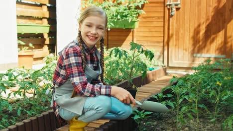 Niño-Niña-Planea-Plantar-Plántulas-De-Tomate-Al-Suelo-En-El-Jardín