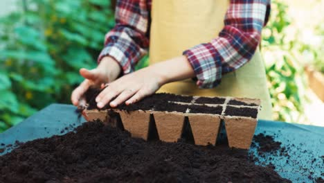 Child-Is-Fill-The-Peat-Pot-With-Soil-Close-Up-Shot