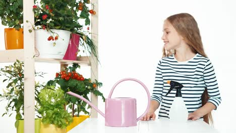 Child-On-White-Background-Near-Shelf-Of-Plants